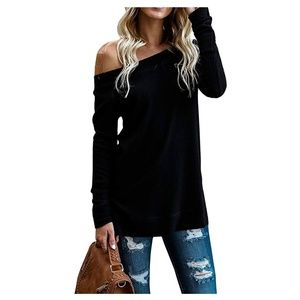 Sweaters - Black Off Shoulder Long Sleeve Sweater